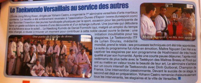 Séminaire TKD Versailles - article paru dans Taekwondo Choc