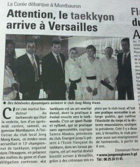 Article sur le Taekkyon et TKD Versailles paru dans les Nouvelles de Versailles