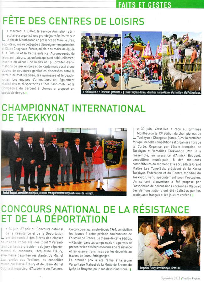 Article sur le Championnat de Taekkyon et Taekwondo Versailles JMK paru dans Versailles Magazine